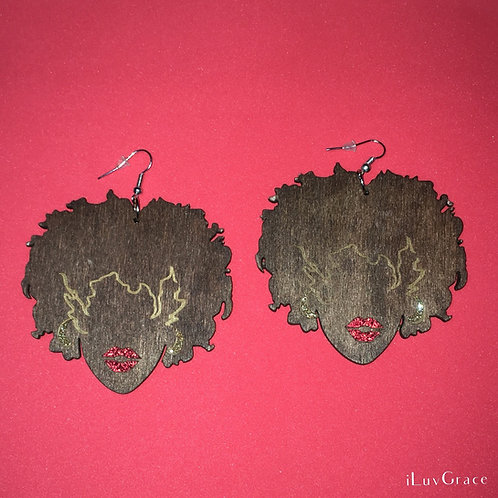Wooden Earrings ~ Red Glitter Lips ~ Medium Brown