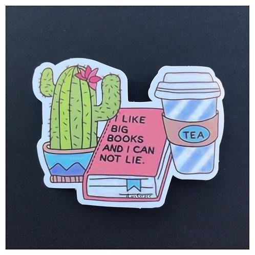 Sticker ~ Cactus, Book & Coffee ~