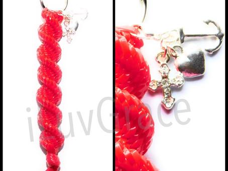 Red Keychain + Anchor, Cross, Heart Charm