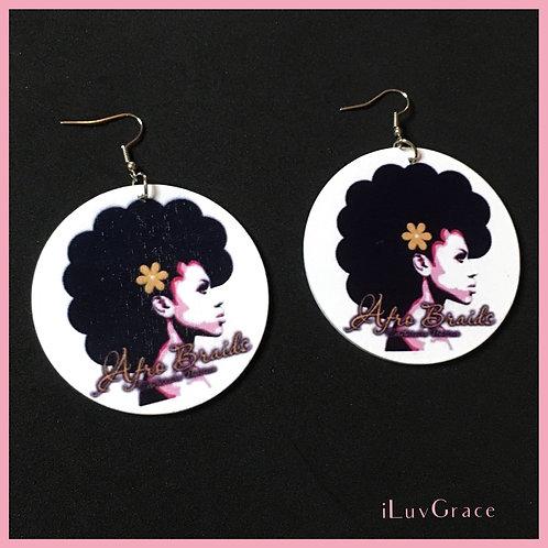 Black Woman ~ Afro Braids ~ Wooden Earrings