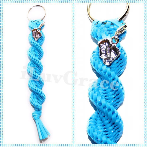 Light Blue Keychain + Baby Feet Charm