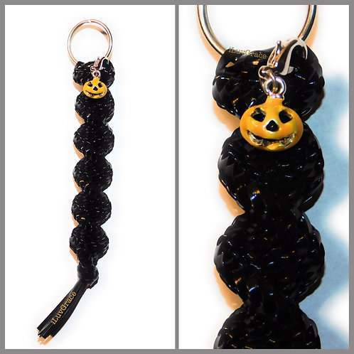 Black Keychain + Halloween Pumpkin Charm
