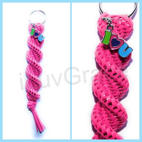 Magenta + I Love U Charm Keychain