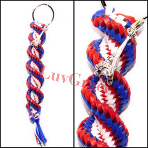 Blue, White & Red Keychain + Eiffel Tower Charm