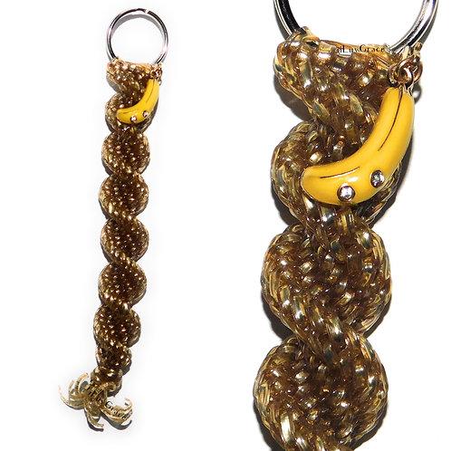 Gold Keychain + Banana Charm