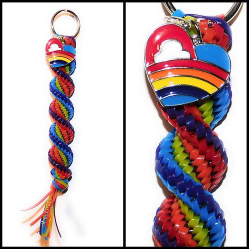 Rainbow Keychain + Rainbow Heart Charm