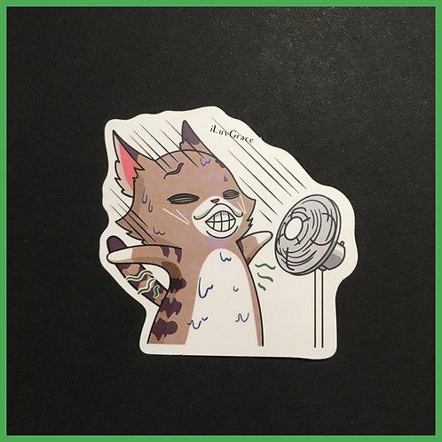 Funny Cat w/ Fan ~ Sticker ~