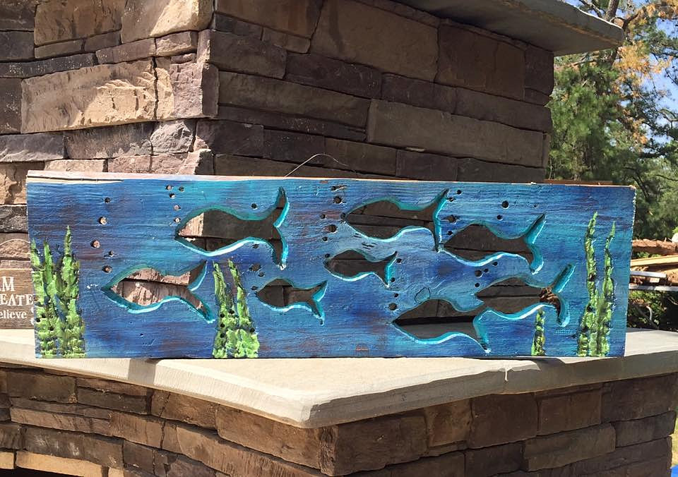 Hand Carved School Of Fish Reclaimed Wood Reclaimed Home Decor Nj