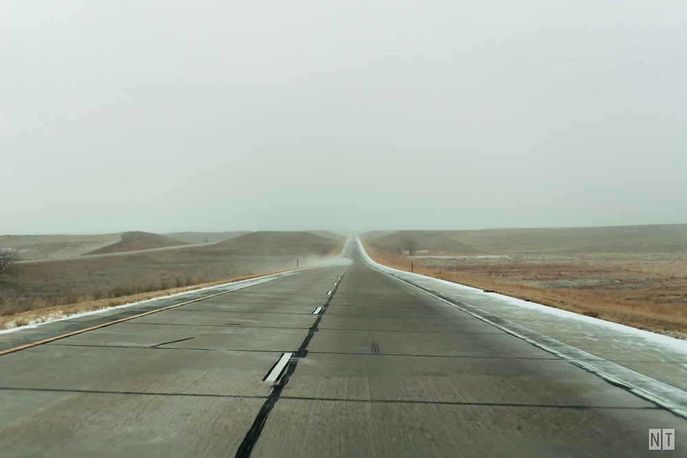 Desolate road in Nebraska