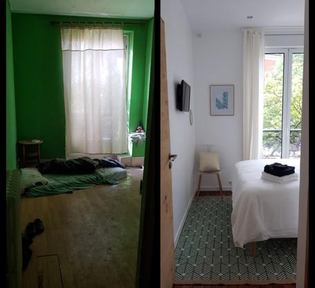 Intérieur chambre avant/après