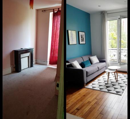 Séjour appartement avant/après