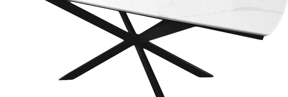 стол металлический со столешницей из кварцевого агломерата