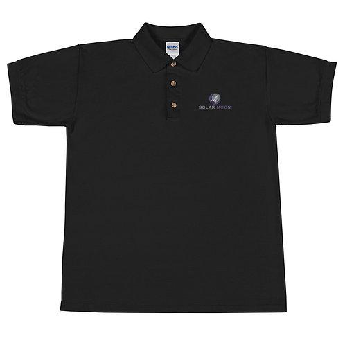 Solar Moon Embroidered Polo Shirt