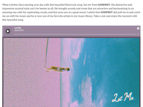 What is better than starting your day with this beautiful Electronic song 'Let me' from GODFREY.