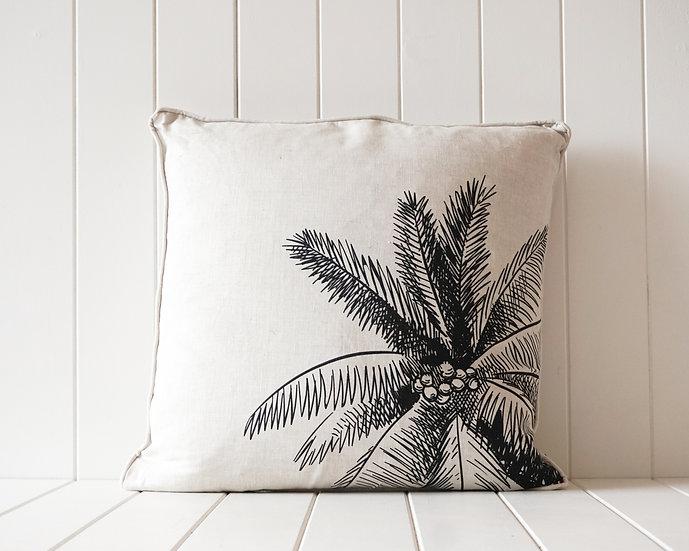 Coconut Palm Linen Cushion - Black/Natural