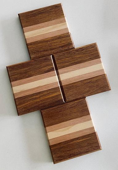 Doral Wood Tones Coasters - set of 4