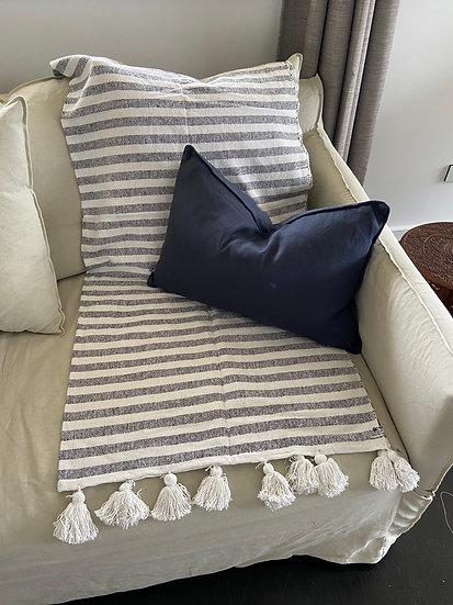 Navy Linen Rectangular Cushion - Feather Insert