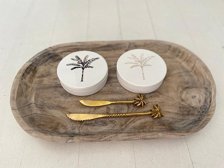 Banana Palm Ceramic Coasters - Black
