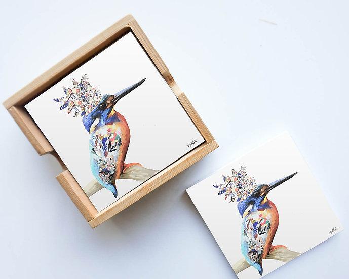 Artist Lab - Inkheart - Kingfisher - Ceramic coaster set