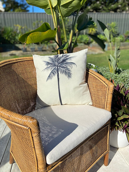 Indoor cushion COVER ONLY - Monochrome palm (45x45cm)