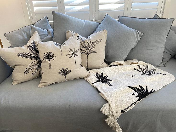 Palm Linen Cushion - Black/Natural