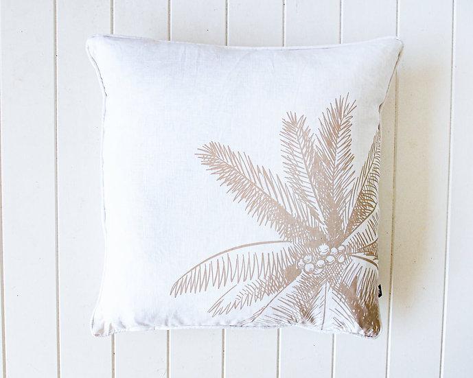 Coconut Palm Linen Cushion - Natural/White