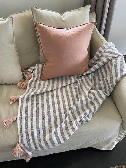 Antique Blush Square Linen Cushion - Feather Insert