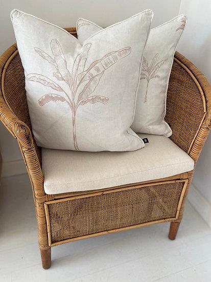Banana Palm Linen Cushion - Natural/White