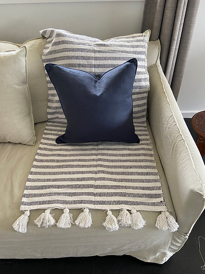 Navy Linen Square Cushion - Feather Insert