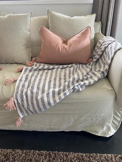 Antique Blush Rectangular Linen Cushion  - Feather Insert