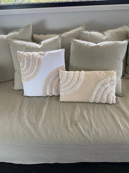 Natural/White Square Tufted Rainbow Cushion