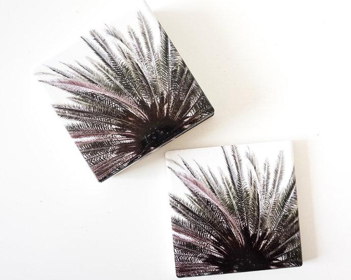 Ceramic coaster - Sky high palm (Set of 4)