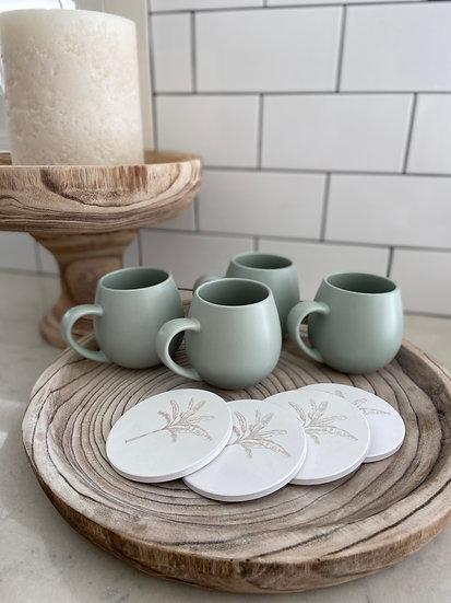 Banana Palm Ceramic Coasters - Natural