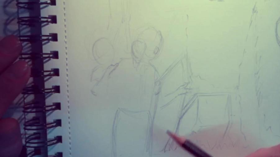 Sketching a book scene