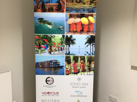 More promotional roller banners for Abbotts Travel.