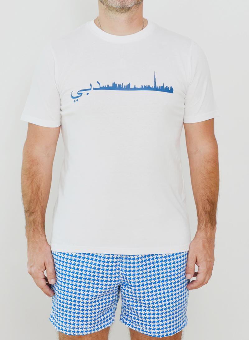 Editions Dubai Skyline T Shirt and Ghutra Blue Short