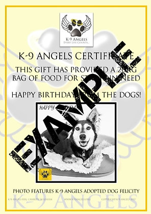 BUY A BAG OF FOOD FOR DOGS IN NEED, GIVE A BIRTHDAY GIFT