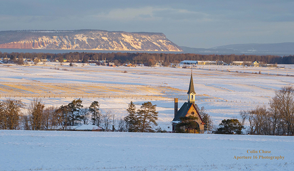 Blomidon and Grand Pre Church in Winter