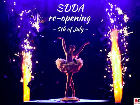 SDDA reopening Monday 5th of July