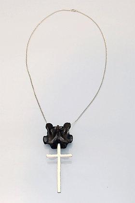Real Sheep Vertebra Bone & Cross Necklace