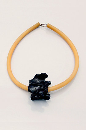 Surgical Tubing Necklace with Real Sheep Vertebra