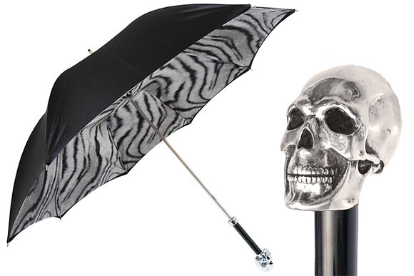 Silver Plated Skull Umbrella with Zebra Lining