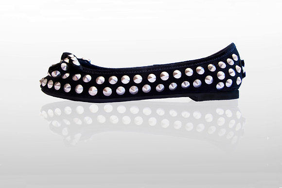 Mantis London Studded Suede Ballerina with D-Ring