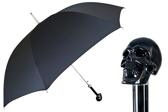 Mantis London Black Skull Handle Umbrella
