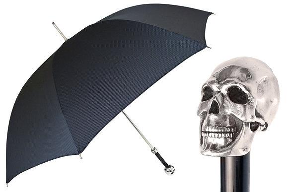 Mantis London Silver Plated Skull Handle Umbrella