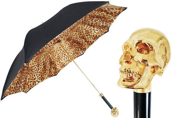 Mantis London Skull Umbrella with Leopard Lining