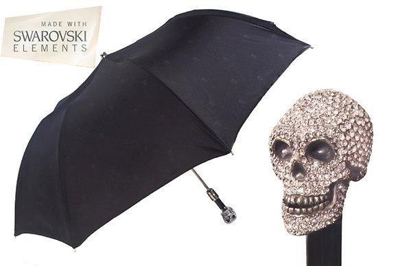 Swarovski Encrusted Skull Handle Foldable Umbrella
