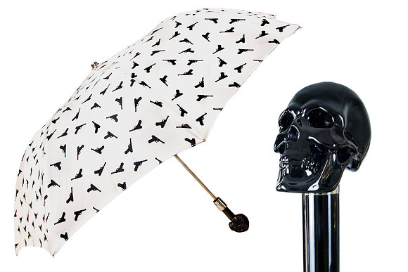 Mantis London Gun Print Skull Handle Umbrella