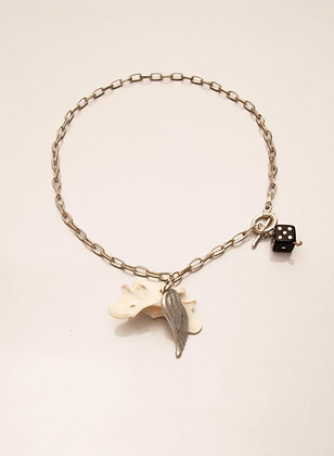 One-off Real Fox Bone Necklace with Feather & Dice