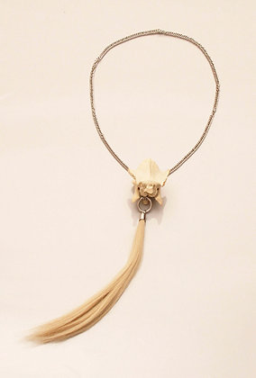 One-off Real Ram Bone Necklace with Lock of Hair